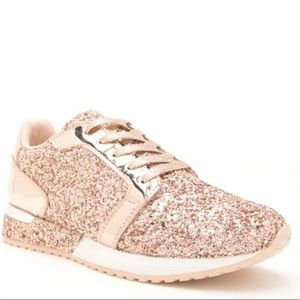 QUPID ROSE GOLD GLITTER FASHION SNEAKERS
